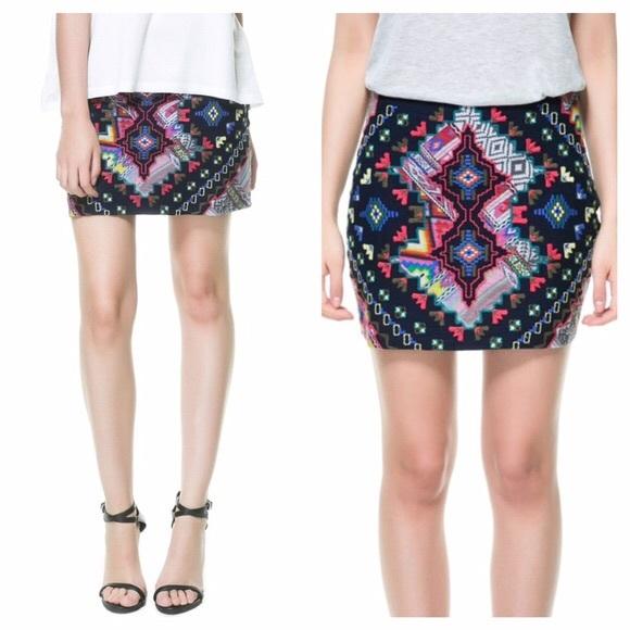 3fc0f3abf9 Zara Trafaluc Embroidered Mini Skirt. NWOT. M_5c02ba2c6a0bb7a6e4fc7969